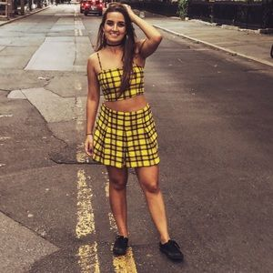 Wild Fable yellow plaid skort and crop top set